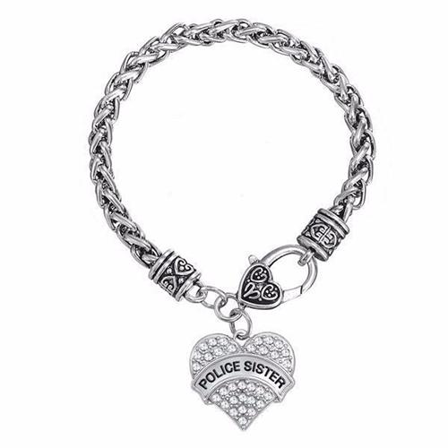 'Police Sister' Crystal Heart Charm Chain Bracelet