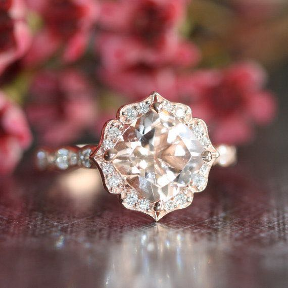 14k Rose Gold Vintage Floral Morganite Engagement Ring