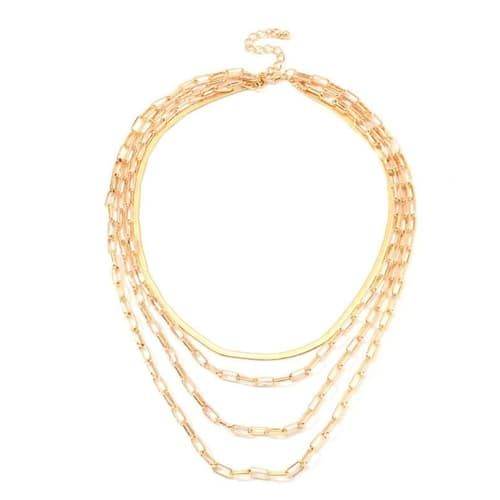 18K Gold Plated 4 Piece Chain Link Set Necklace