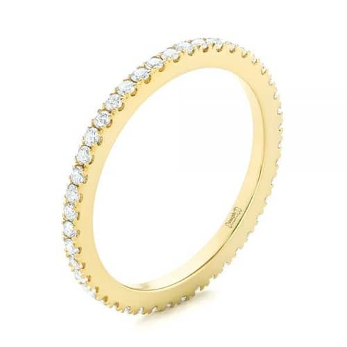 18K Gold Plated Classic Ring Pave Thin Band made with Swarovski