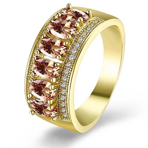 18K Gold Plated Morganite Hélène Ring made with Swarovski Crystals