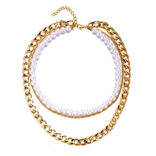 18K Gold Plated Pearl and Chain 3 Piece Layer Necklace