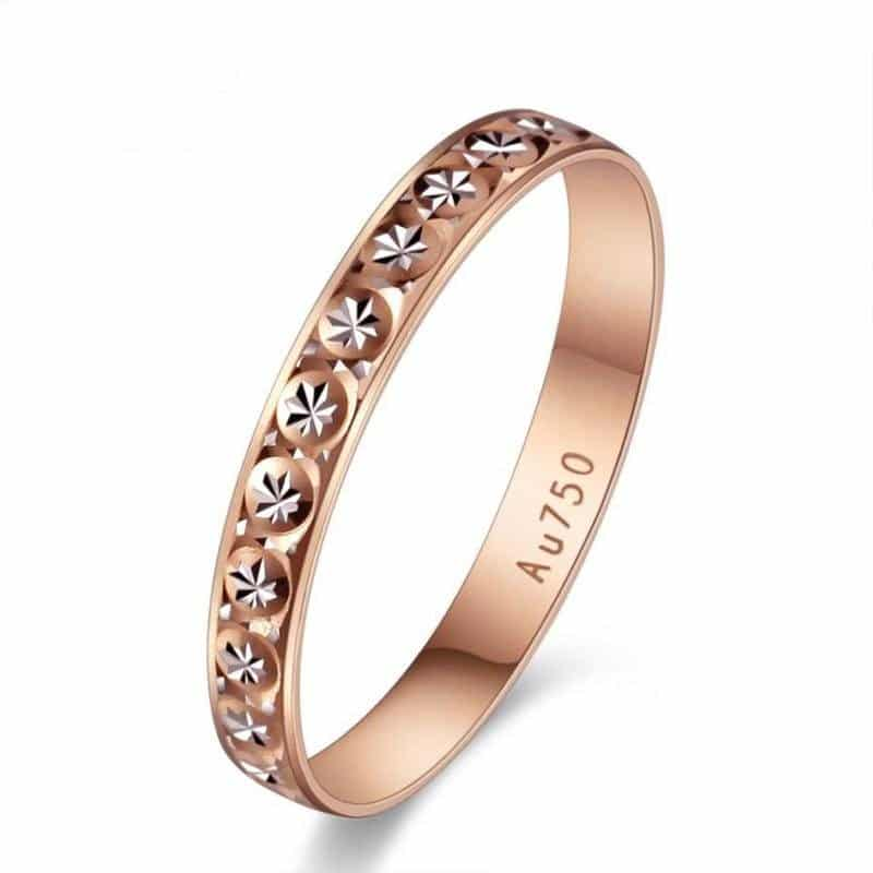 18K PURE 750 SOLID ROSE GOLD BAND RING