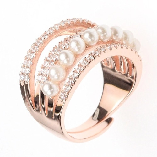 18K Rose Gold Cocktail Ring with Cubic Zirconia and Pearls