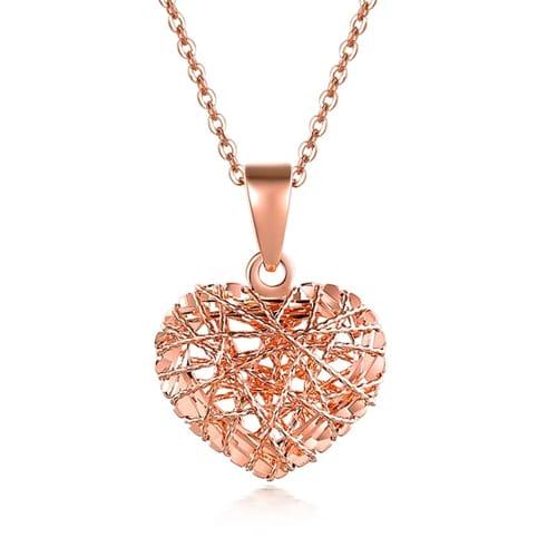 18K Rose Gold Mesh Heart Pendant