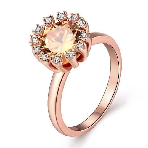18K Rose Gold Plated Carlina Morganite Crystal Ring
