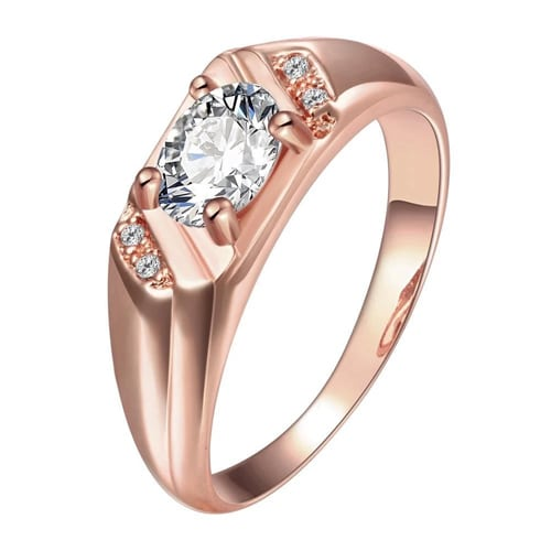 18K Rose Gold Plated Fidelma Ring with Swarovski Crystals`