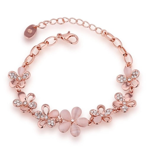 18K Rose Gold Plated Floral Swarovski Bracelet
