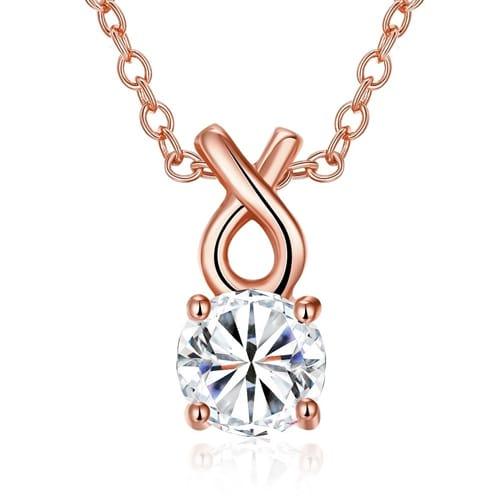 18K Rose Gold Plated Single Swarovski Simple Necklace