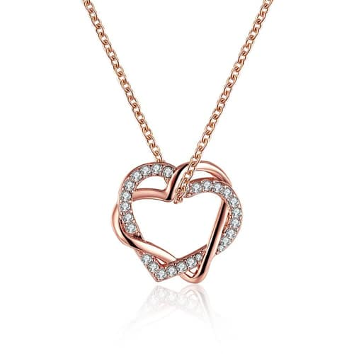 18K Rose Gold Plated Swarovski Double Heart Necklace