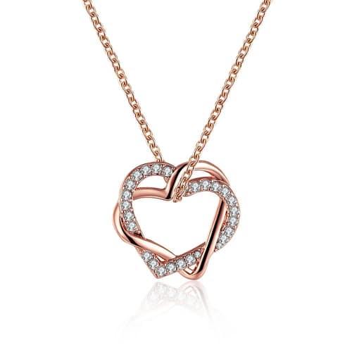 18K Rose Gold Plated Swarovski Double Heart Necklace