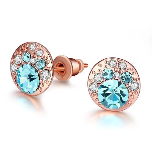 18K Rose Gold Plated with Aquamarine Stud Earrings
