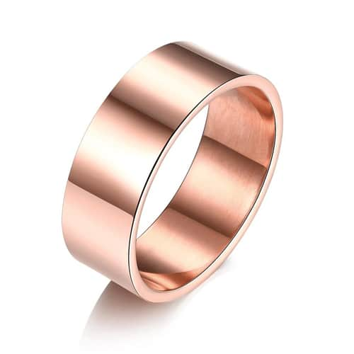 18K Rose Gold over Stainless Steel Thick Band Ring