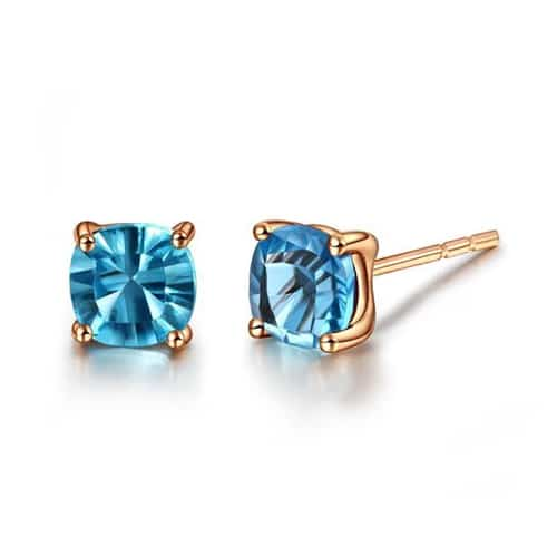 18K Solid Gold Natural Topaz Earrings
