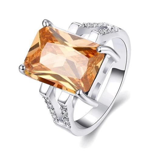 18K White Gold Plated Maryse Morganite Ring made with Swarovski