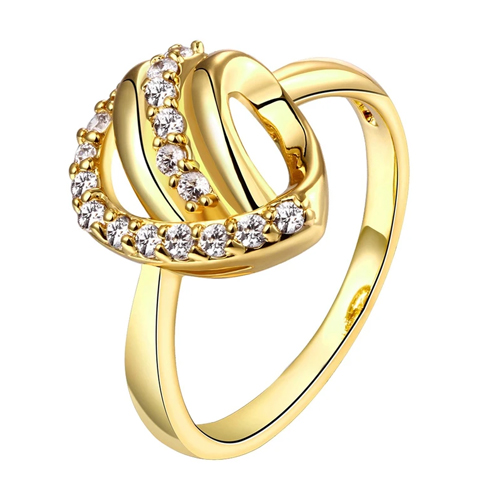 18k Gold Plated Abstract Twist Pave Ring With Swarovski Crystals