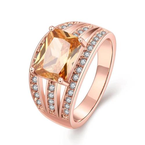 18k Rose Gold Plated Caroline Ring With Swarovski Crystals