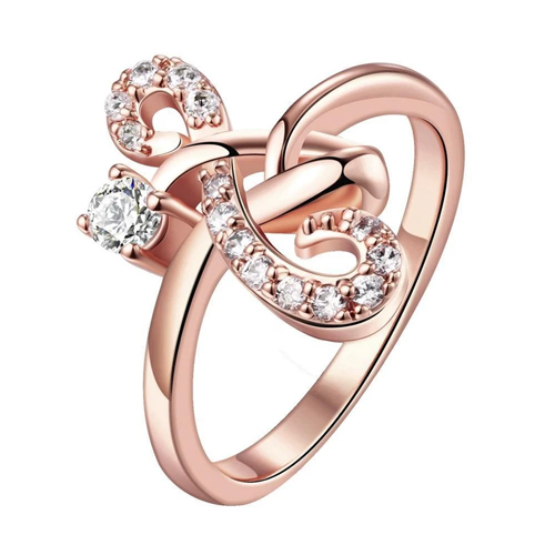 18k Rose Gold Plated Here Forever Ring With Swarovski Crystals