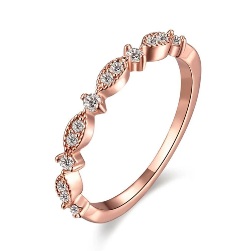 18k Rose Gold Plated Nadine Ring With Swarovski Crystals