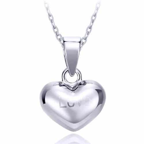 18k White Gold Heart Pendant