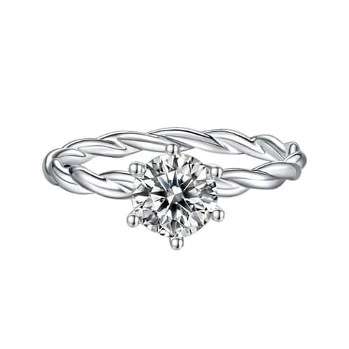 1CT Moissanite Diamond Silver Ring
