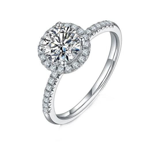1CT VVS1 Moissanite Round Halo Diamond Ring