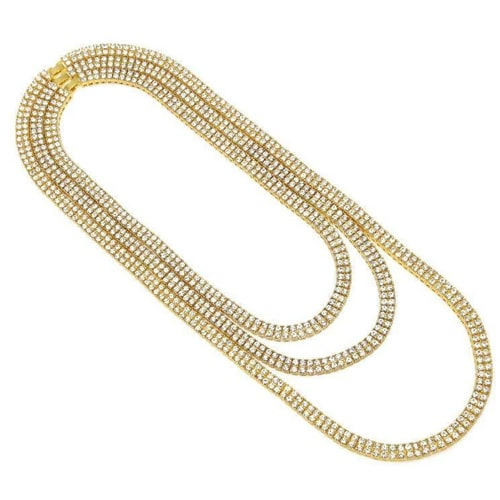 2 Row Tennis 14K Yellow Gold Plated Chain