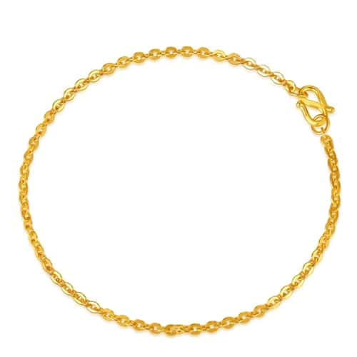 24K Gold Thin Chain Link Bracelet