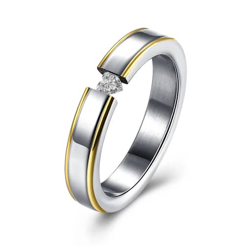 316L Stainless Steel Mini Swarovski Goldtone Lining Ring