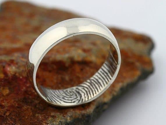 6mm Inner Fingerprint Engraved Mens Wedding Band