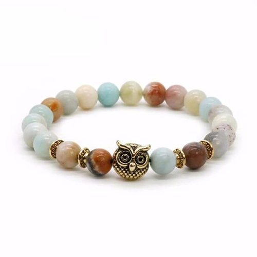 Ancient Owl Totem Natural Stone Beaded Bracelet