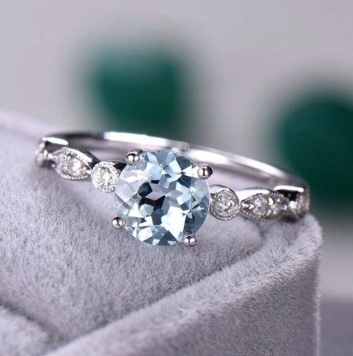 Aquamarine 14K Gold, White, Yellow, and Rose Gold, low profile, non traditional, engagement rings