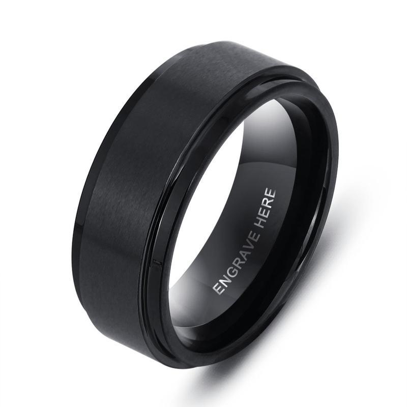 Black Titanium Steel Engraved Band Ring