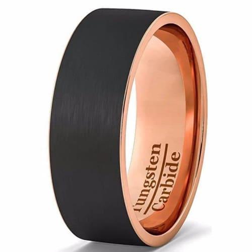 Black Brushed Tungsten Rose Gold Ring