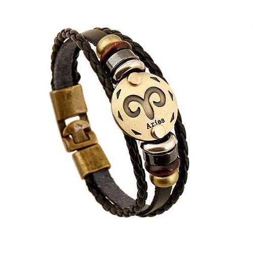Black Gallstone Zodiac Signs Leather Bracelet