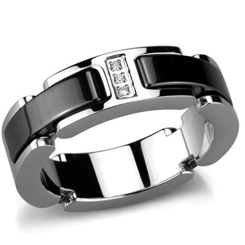 Black Stainless Steel Ceramic 3 Crystal Ring