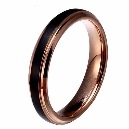 Black Tungsten Carbide Rose Gold Ring