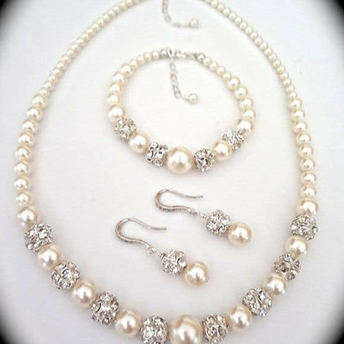 Bridal Jewelry Pearl Set Sterling Silver