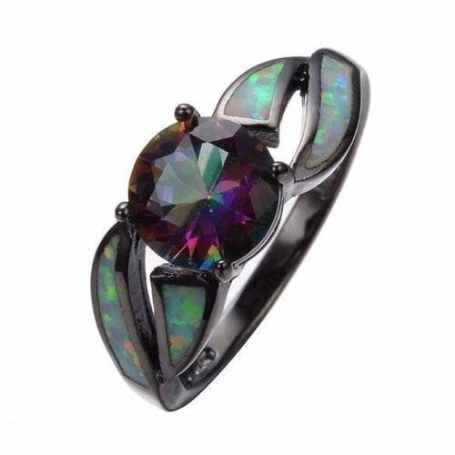 Brilliant Boulder Midnight Opal Ring
