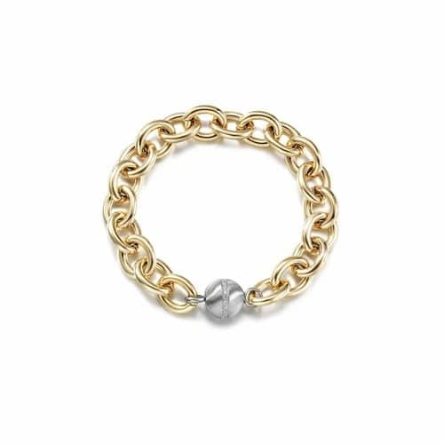 CZ Ball Link Gold Bracelet