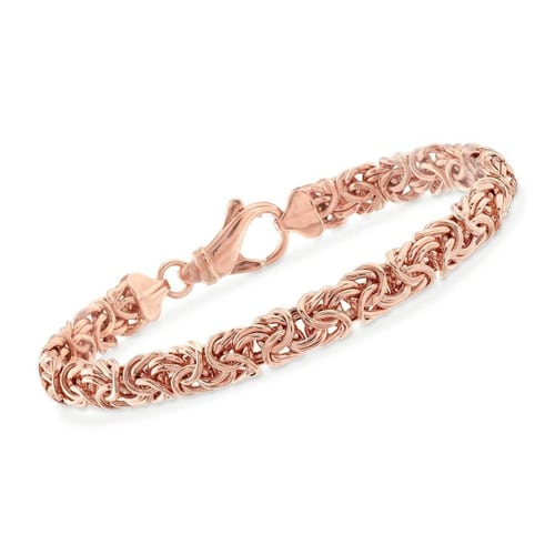 Classic 14K Rose Gold Plating Byzantine Chain Bracelet