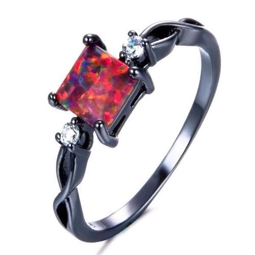 Classic Square Fire Opal Black Ring