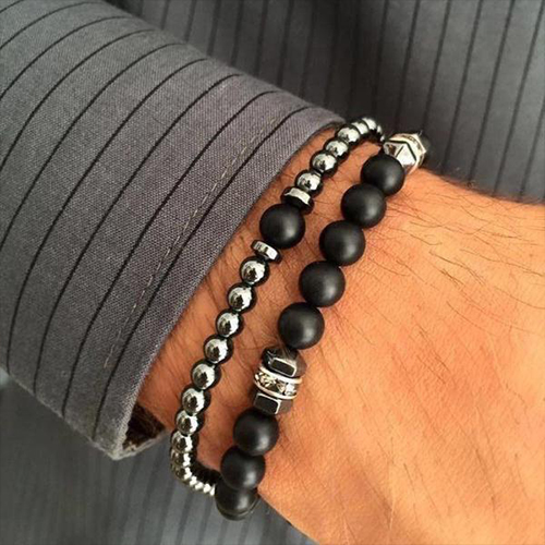 Classic Stainless Steel Chain Stone Beads Bracelet Set