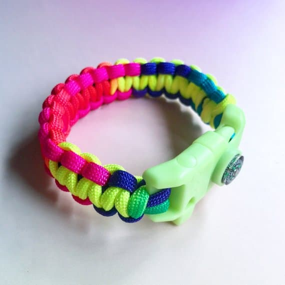 Colorful Survival Whistle Paracord Bracelet