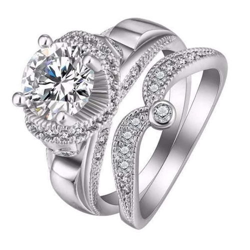 Crystal Dotted White Gold Rings