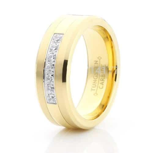 Crystals Inlay Gold Tungsten Carbide Ring