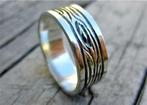 Custom Engraved Sterling Silver Mens Ring