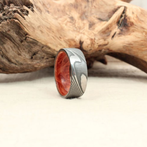 Damascus Steel and Wood Ring