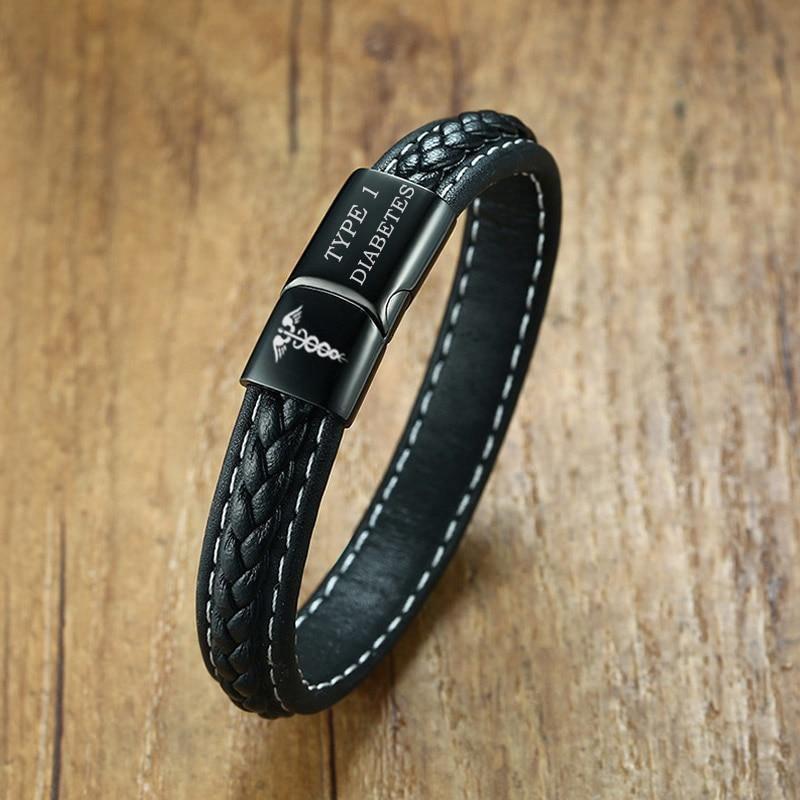 Emergency Medical Alert Genuine Leather Bracelet