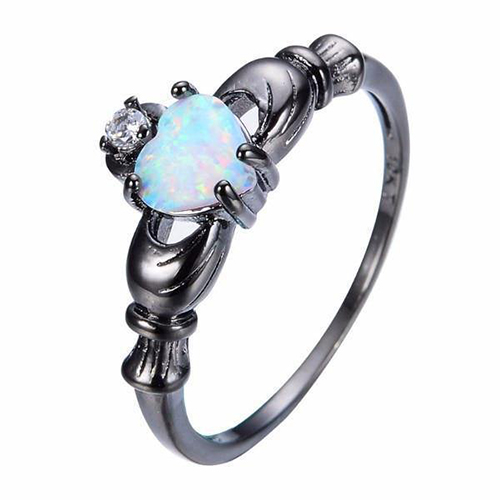 EXQUISITE HEART CHARM OPAL RING
